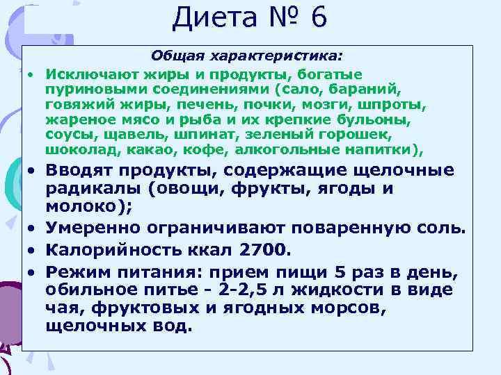 Диеты По Певзнеру 6. Диета №6 (Стол №6): меню на неделю. Лечебное питание