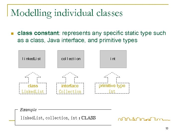 Modelling individual classes n class constant: represents any specific static type such as a
