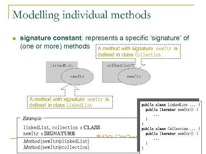 Modelling individual methods n signature constant: represents a specific 'signature' of (one or more)
