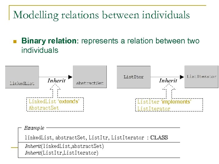 Modelling relations between individuals n Binary relation: represents a relation between two individuals Linked.
