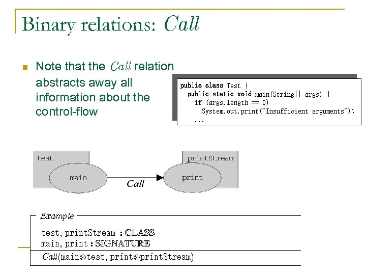 Binary relations: Call n Note that the Call relation abstracts away all information about