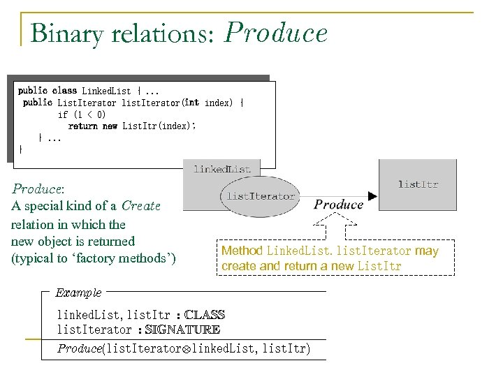 Binary relations: Produce public class Linked. List {. . . public List. Iterator list.