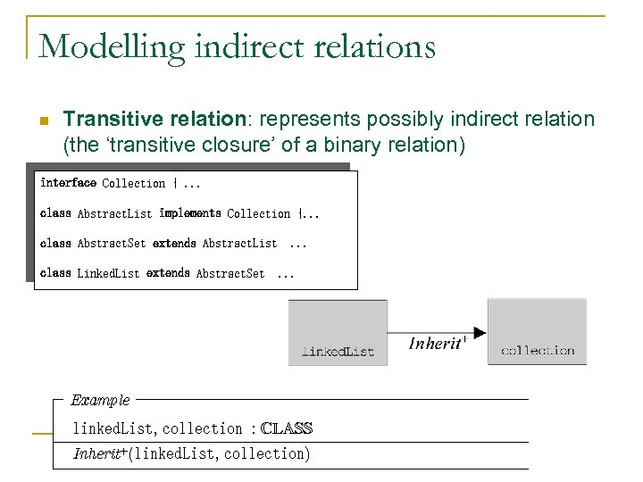 Modelling indirect relations n Transitive relation: represents possibly indirect relation (the 'transitive closure' of