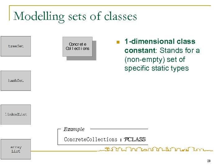 Modelling sets of classes n 1 -dimensional class constant: Stands for a (non-empty) set