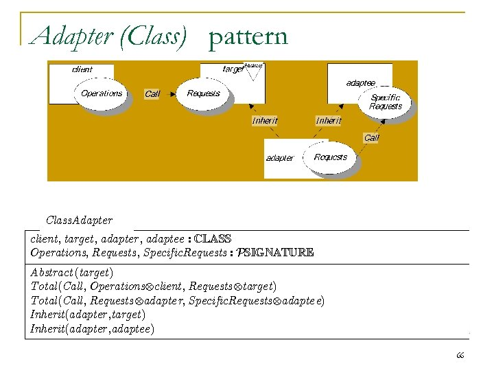 Adapter (Class) pattern Class. Adapter client, target, adapter, adaptee : CLASS Operations, Requests, Specific.