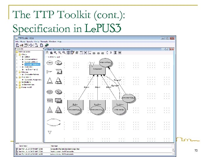 The TTP Toolkit (cont. ): Specification in Le. PUS 3 72