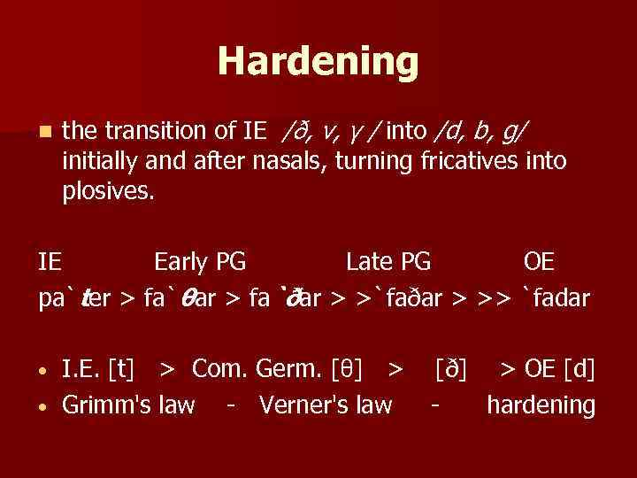 Hardening n the transition of IE /ð, v, γ / into /d, b, g/