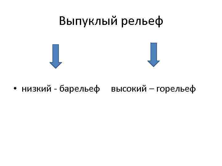 Выпуклый рельеф • низкий - барельеф высокий – горельеф