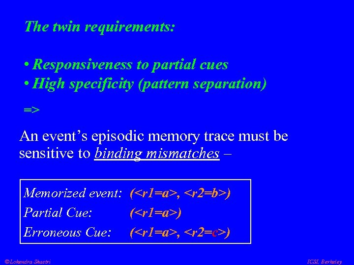 The twin requirements: • Responsiveness to partial cues • High specificity (pattern separation) =>