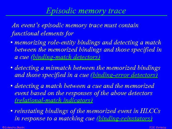 Episodic memory trace An event's episodic memory trace must contain functional elements for •