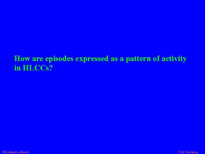 How are episodes expressed as a pattern of activity in HLCCs? Lokendra Shastri ICSI,