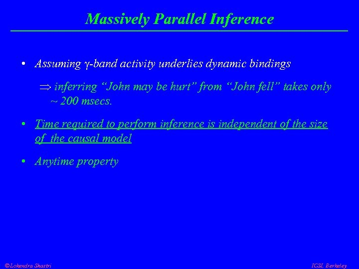 """Massively Parallel Inference • Assuming -band activity underlies dynamic bindings Þ inferring """"John may"""