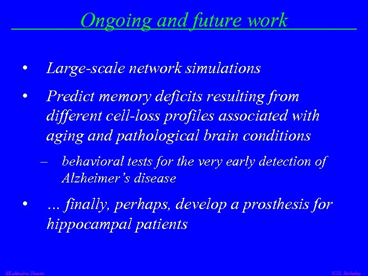 Ongoing and future work • Large-scale network simulations • Predict memory deficits resulting from
