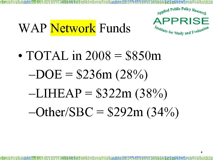 WAP Network Funds • TOTAL in 2008 = $850 m –DOE = $236 m