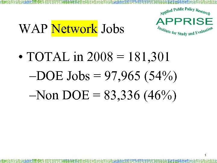 WAP Network Jobs • TOTAL in 2008 = 181, 301 –DOE Jobs = 97,