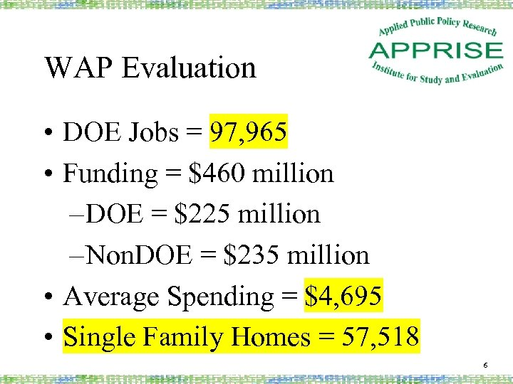 WAP Evaluation • DOE Jobs = 97, 965 • Funding = $460 million –