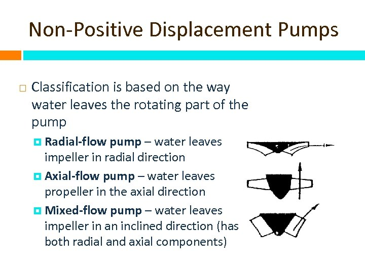 Non-Positive Displacement Pumps Classification is based on the way water leaves the rotating part