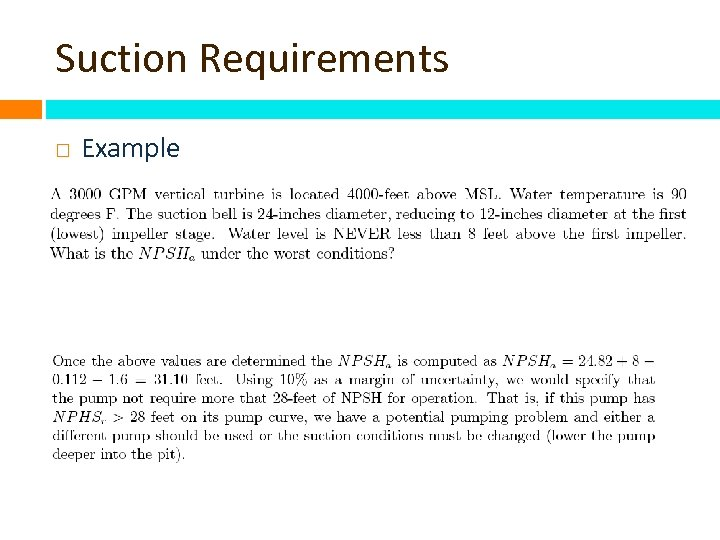 Suction Requirements Example