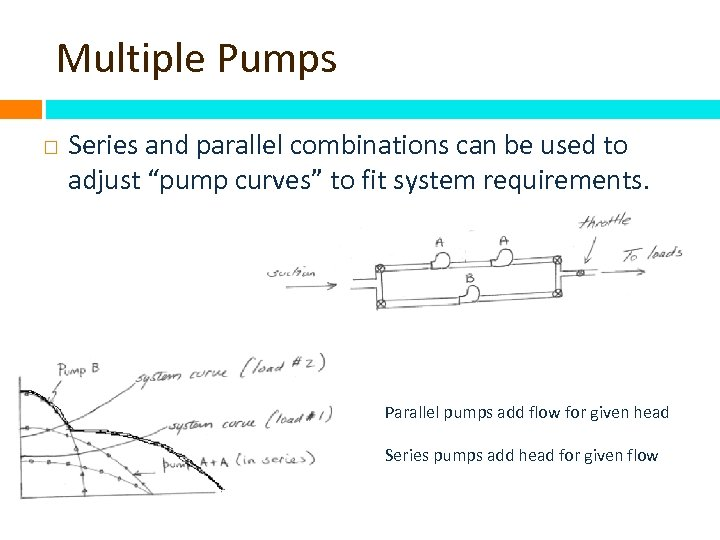 "Multiple Pumps Series and parallel combinations can be used to adjust ""pump curves"" to"