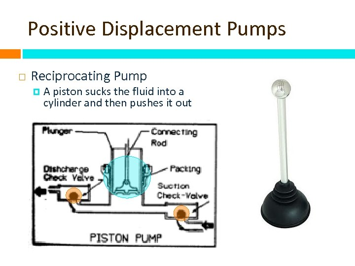 Positive Displacement Pumps Reciprocating Pump A piston sucks the fluid into a cylinder and