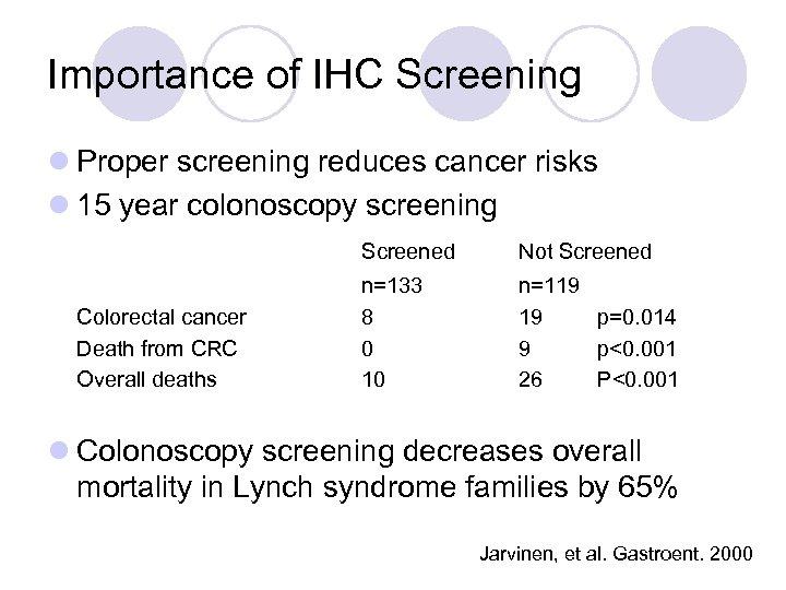 Importance of IHC Screening l Proper screening reduces cancer risks l 15 year colonoscopy