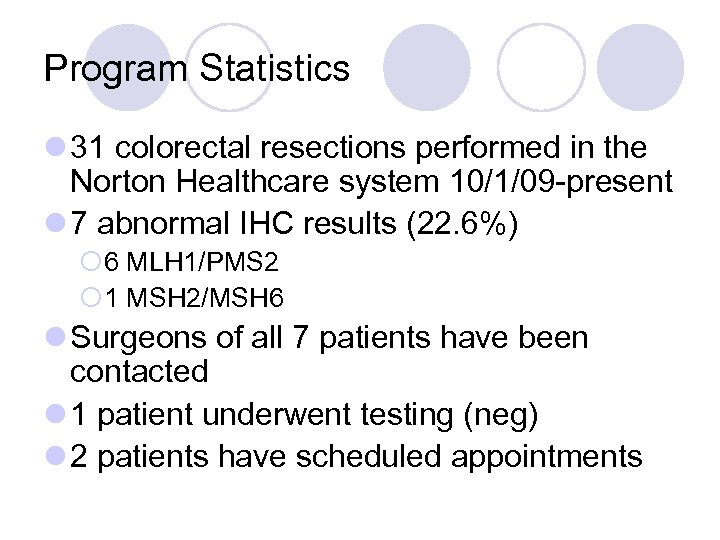 Program Statistics l 31 colorectal resections performed in the Norton Healthcare system 10/1/09 -present