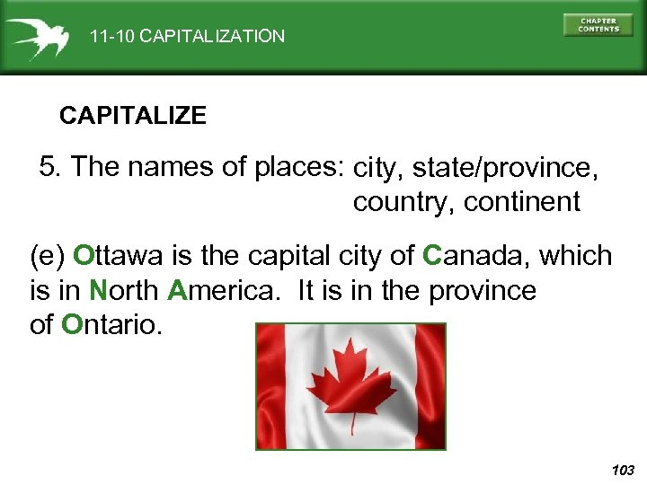 11 -10 CAPITALIZATION CAPITALIZE 5. The names of places: city, state/province, country, continent (e)