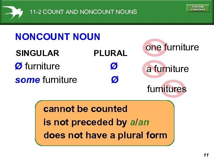 11 -2 COUNT AND NONCOUNT NOUNS NONCOUNT NOUN SINGULAR Ø furniture some furniture PLURAL
