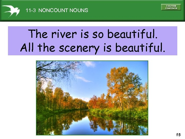 11 -3 NONCOUNT NOUNS The river is so beautiful. All the scenery is beautiful.
