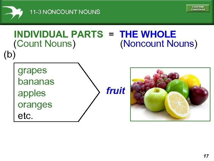 11 -3 NONCOUNT NOUNS INDIVIDUAL PARTS = THE WHOLE (Count Nouns) (Noncount Nouns) (b)