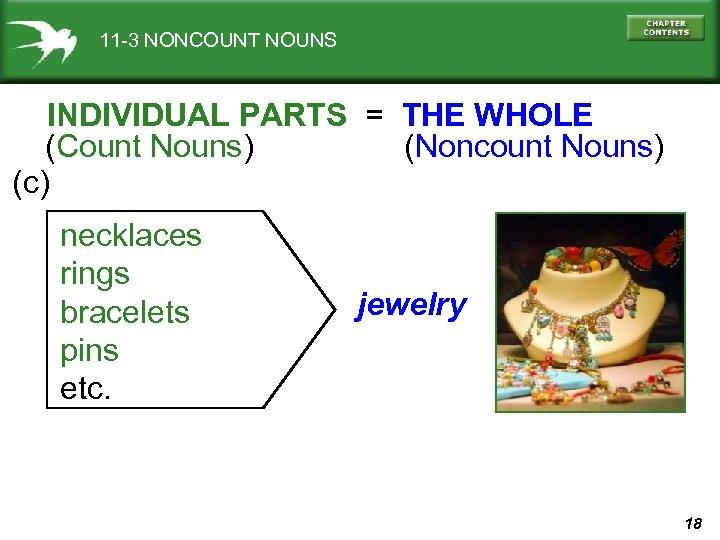 11 -3 NONCOUNT NOUNS INDIVIDUAL PARTS = THE WHOLE (Count Nouns) (Noncount Nouns) (c)