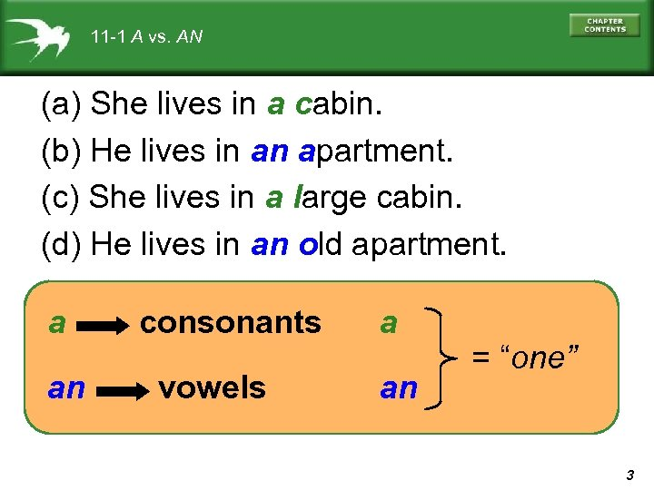 11 -1 A vs. AN (a) She lives in a cabin. (b) He lives
