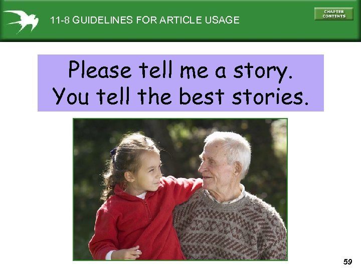 11 -8 GUIDELINES FOR ARTICLE USAGE Please tell me a story. You tell the