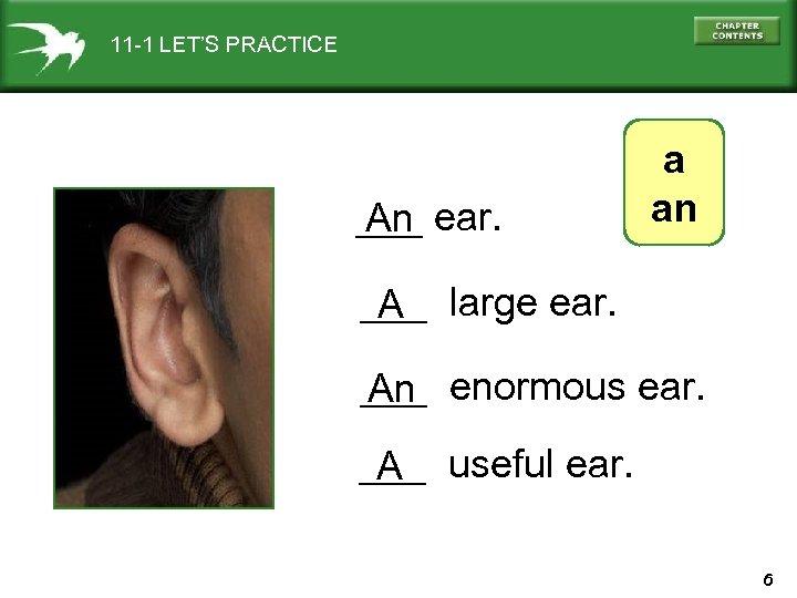 11 -1 LET'S PRACTICE ___ ear. An a an ___ large ear. A ___