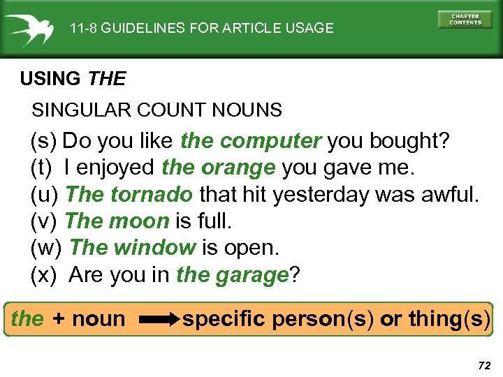 11 -8 GUIDELINES FOR ARTICLE USAGE USING THE SINGULAR COUNT NOUNS (s) Do you