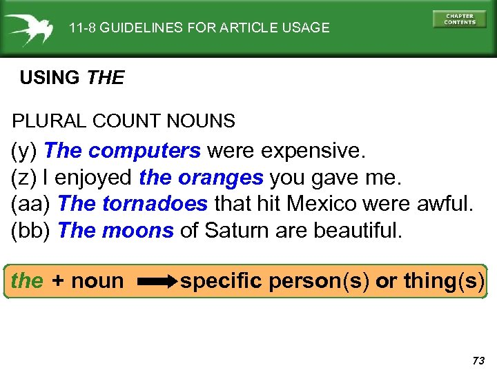 11 -8 GUIDELINES FOR ARTICLE USAGE USING THE PLURAL COUNT NOUNS (y) The computers