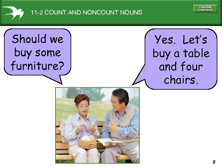 11 -2 COUNT AND NONCOUNT NOUNS Should we buy some furniture? Yes. Let's buy