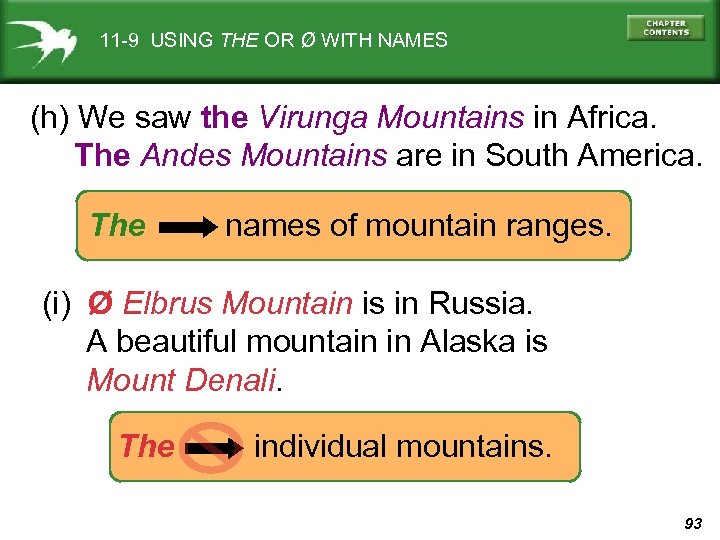 11 -9 USING THE OR Ø WITH NAMES (h) We saw the Virunga Mountains