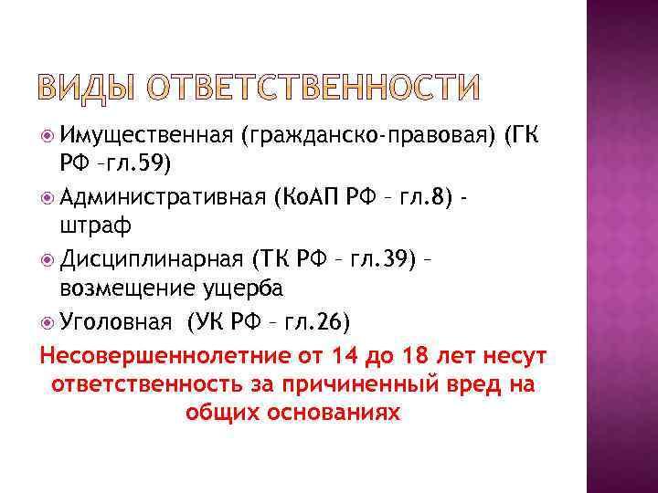 Имущественная (гражданско-правовая) (ГК РФ –гл. 59) Административная (Ко. АП РФ – гл. 8)