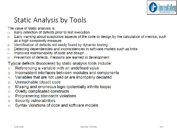 Static Analysis by Tools 3/15/2018 MANUAL TESTING 120