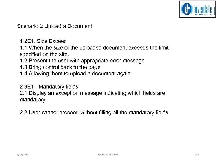 Scenario 2 Upload a Document 1 2 E 1. Size Exceed 1. 1 When