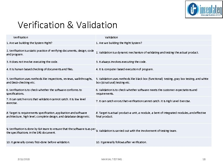 Verification & Validation Verification Validation 1. Are we building the System Right? 1. Are