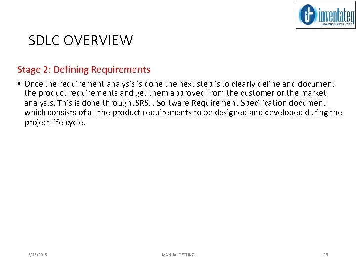 SDLC OVERVIEW Stage 2: Defining Requirements • Once the requirement analysis is done the