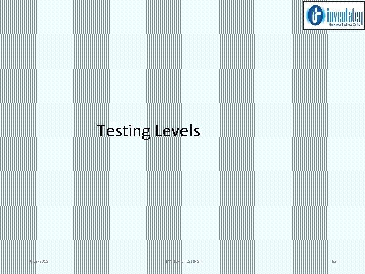 Testing Levels 3/15/2018 MANUAL TESTING 55