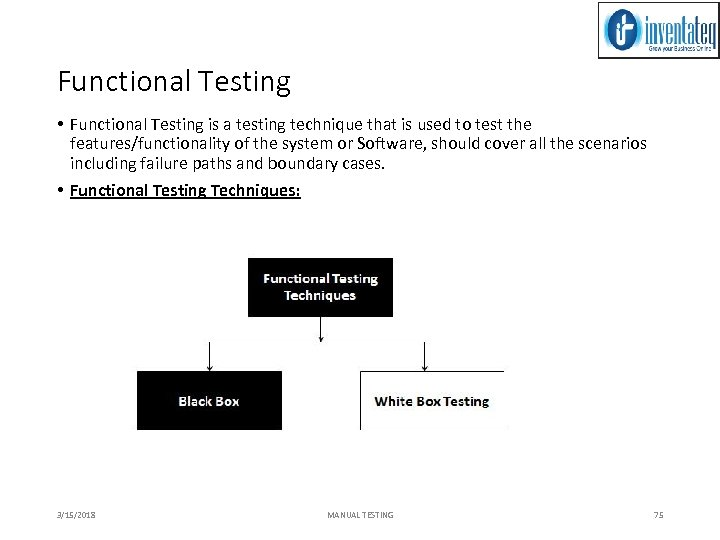 Functional Testing • Functional Testing is a testing technique that is used to test