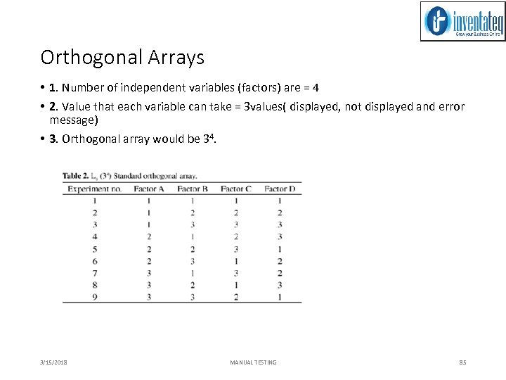 Orthogonal Arrays • 1. Number of independent variables (factors) are = 4 • 2.