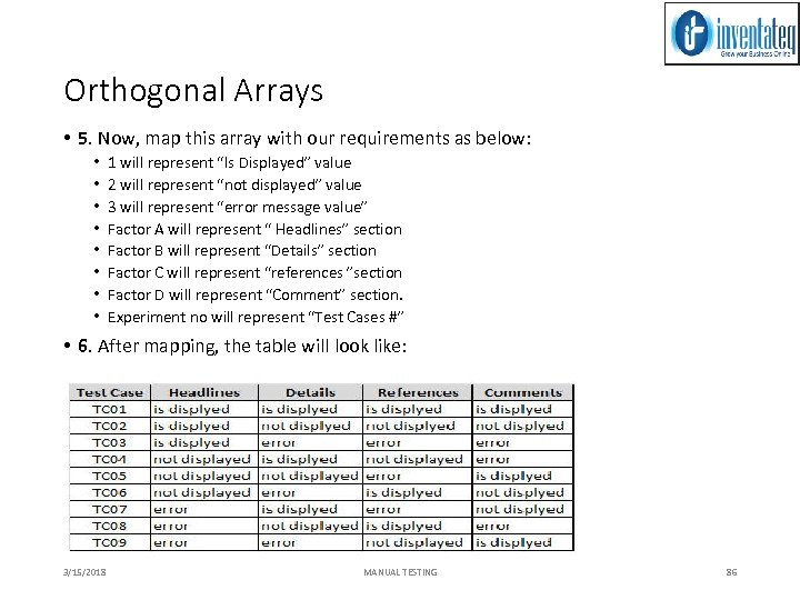 Orthogonal Arrays • 5. Now, map this array with our requirements as below: •