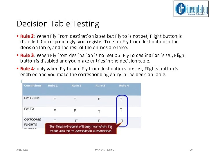 Decision Table Testing • Rule 2: When Fly From destination is set but Fly