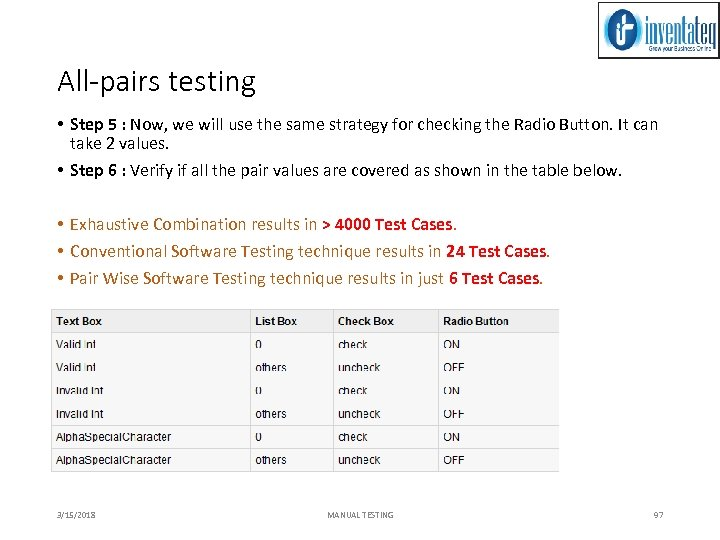 All-pairs testing • Step 5 : Now, we will use the same strategy for