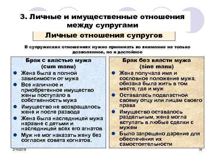 3. Личные и имущественные отношения между супругами Личные отношения супругов В супружеских отношениях нужно